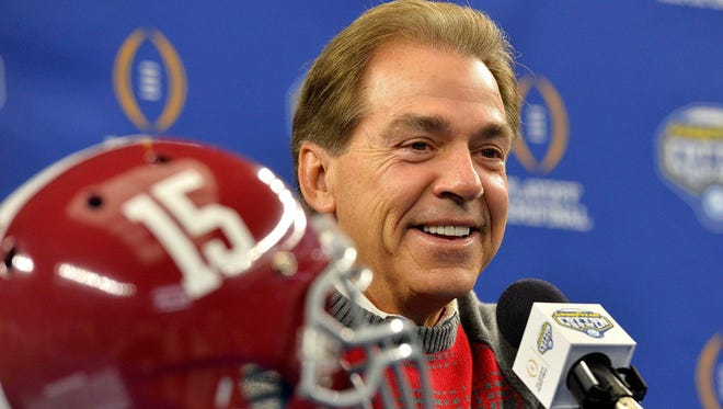 Alabama head coach Nick Saban talks to reporters during Cotton Bowl Media Day Tuesday in Arlington, Texas.