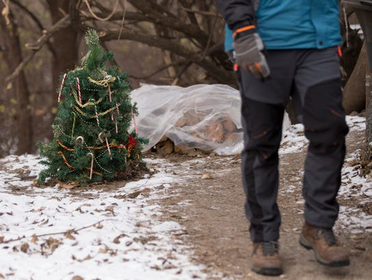 A small Christmas tree at a homeless camp near the