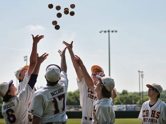 Christian Brothers players goof around before their TSSAA Division II Class AA baseball tournament game Wednesday at Spring Fling. Both teams were trying to climb their way out of the losers bracket, but MUS managed to pull ahead and knock CBHS out of contention.