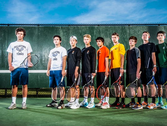 The GameTimePA.com first-team boys' tennis all-stars are, from left: Dallastown's John Schmitt, Dallastown's Tyler Lilie, York Suburban's Elliot Diehl, York Suburban's Michael Peck, Central York's Chris Maderitz, Red Lion's Sam Innerst, South Western's Gavin Kenny South Western's Ben Sentz and York Catholic's Michael Andrews.
