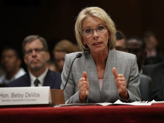 Department of Education Secretary Betsy DeVos testifies at a budget hearing by the U.S. Senate Appropriations Committee.