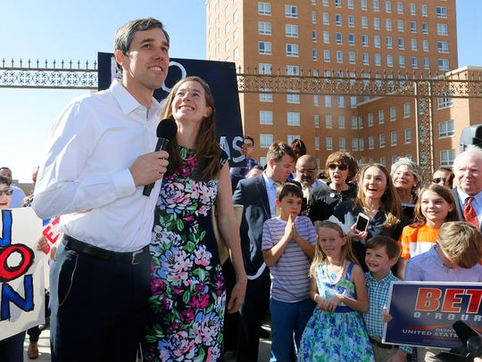 Rep. Beto O'Rourke, joined by his wife Amy, officially