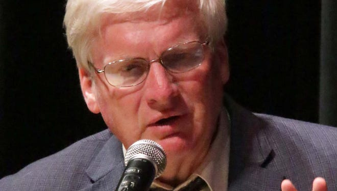 In this Wednesday, July 30, 2014 photo, 6th Congressional candidate Glenn Grothman speaks during the candidate debate at Plymouth High School in Plymouth, Wis. (AP Photo/The Sheboygan Press, Gary C. Klein)