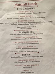 The lunch menu at Marshall Steakhouse