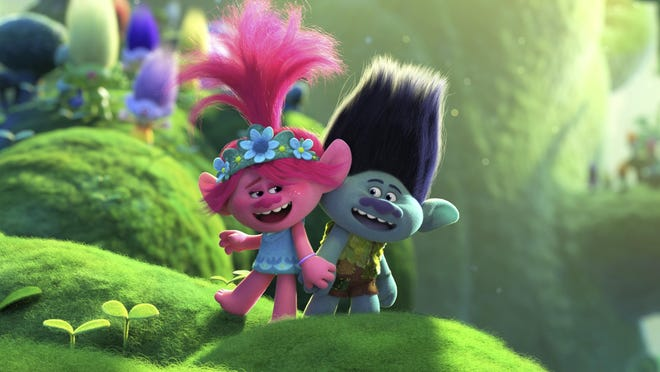 "Poppy, left, voiced by Anna Kendrick, and Branch, voiced by Justin Timberlake, are featured in ""Trolls World Tour,""  being released on DVD July 7."