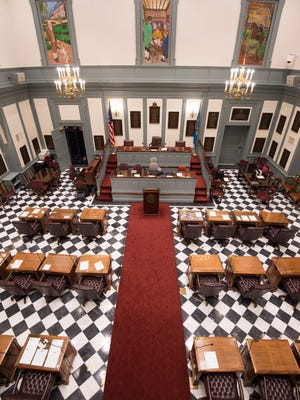 Senate chambers inside Legislative Hall in Dover.