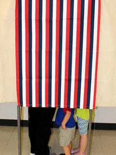 In-person voting will be augmented by early options, mail-in ballots this year. Voting booths of yesteryear (pictured 2014) may be a memory of the past due to the coronavirus.  [