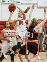 Bound Brook's Cortlyn Morris (24) goes up for a shot