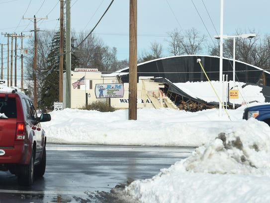 Heavy snow caused the roof on Wayne Lanes in Waynesboro