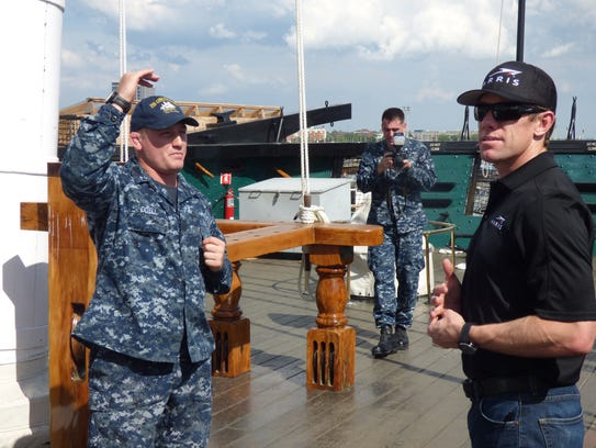 Carl Edwards, right, took a tour of the USS Constitution