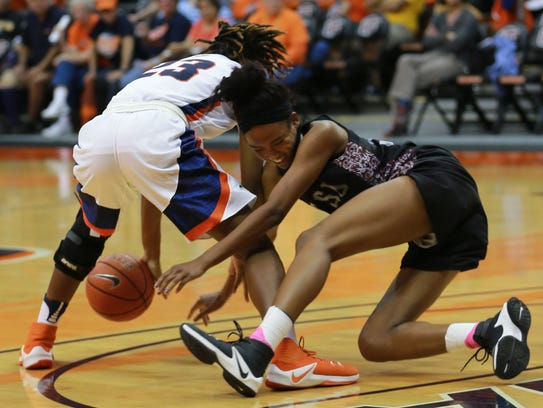 UTEP's Jakeira Ford, left, and Texas Southern's isis
