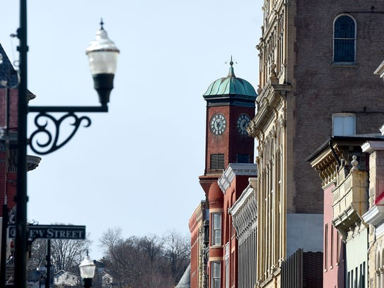 The clocktower located in downtown Staunton. Photograph