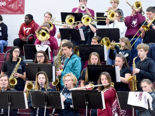 Members of the pep band for Stuarts Draft High School