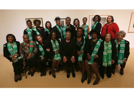 Harriet Kelley, bottom row center, was joined by members