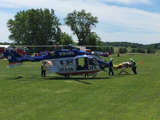 One person — the pilot of the blimp— was transported