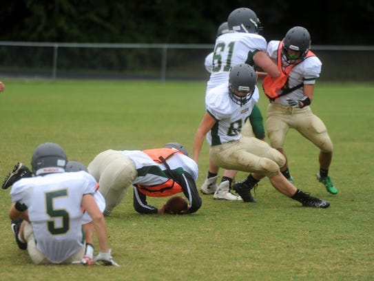 Wilson Memorial's Daley Goff dives on a loose football