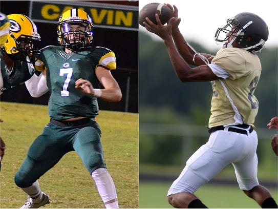 Gallatin quarterback Collin Minor (left) and Mt. Juliet