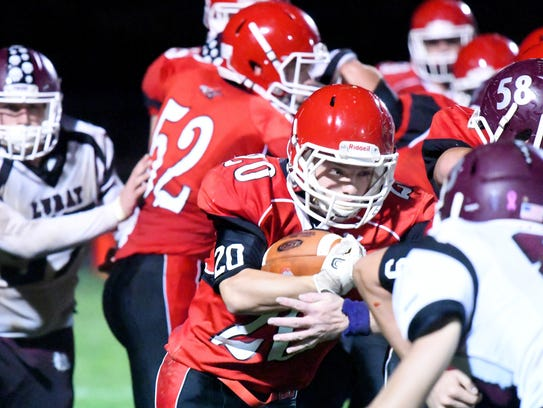 Riverheads' Jackson Shover looks for a through the