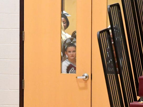 Stuarts Draft's competition cheer team waits patiently