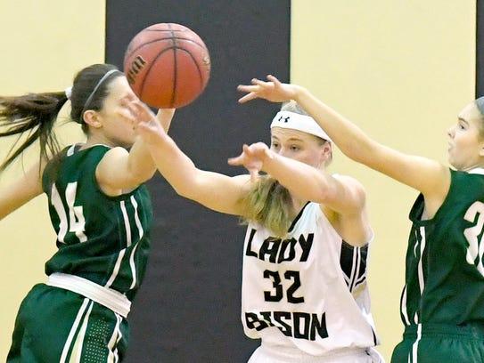 Buffalo Gap's Alexis Clark passes the ball during a