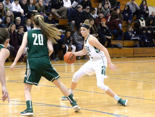 William Monroe's Sam Burnelle dribbles at the top of