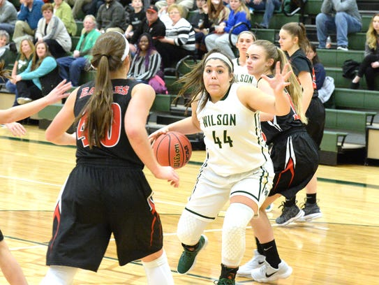 Wilson Memorial's Sarah Sondrol (44) is 10 points shy