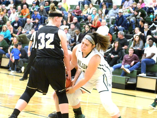 Wilson Memorial's Sarah Sondrol battles for the ball
