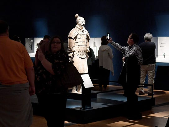 Ten life-sized figures from the Terracotta Army exhibit