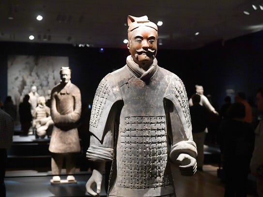 Life-sized figures from the Terracotta Army exhibit