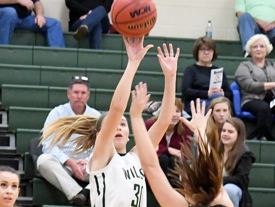 Wilson Memorial's Korinne Baska shoots during the Shenandoah