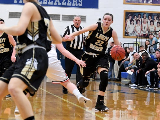 Buffalo Gap's Leah Calhoun moves the ball during the