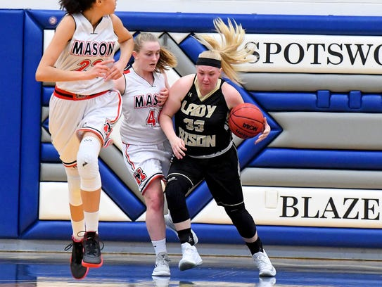Buffalo Gap's Camille Ashby collides with George Mason's