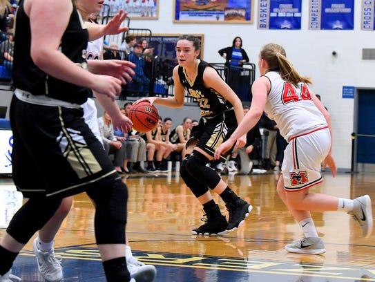 Buffalo Gap's Leah Calhoun moves the ball as George