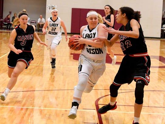 Buffalo Gap's Camille Ashby makes a run for the basket