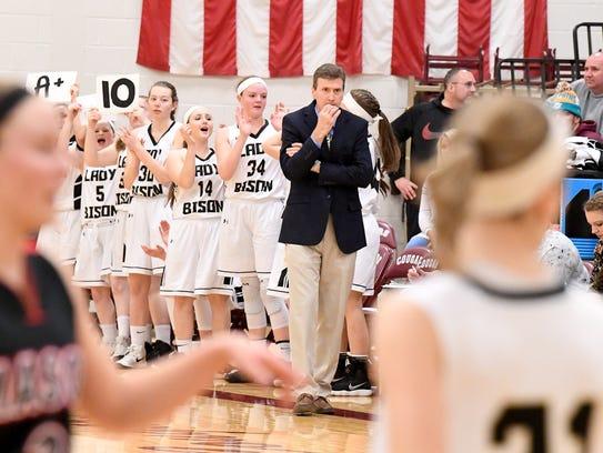 Buffalo Gap head coach Phillip Morgan watches the action