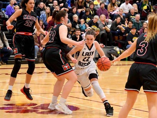 Buffalo Gap's Leah Calhoun makes a run for the basket
