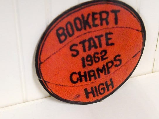 A state championship patch from 1962 in the Booker