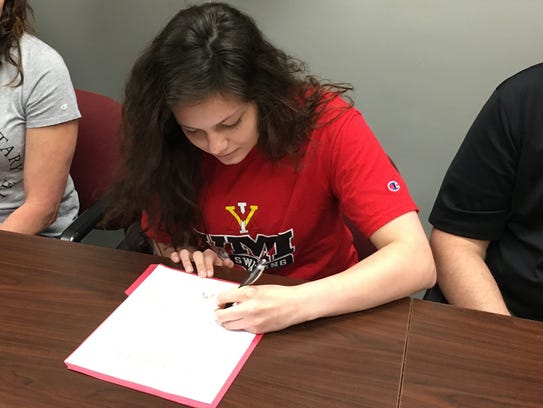 Waynesboro's Libby Young signs Thursday afternoon to