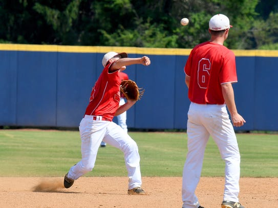 Riverheads' Grant Painter throws to first base in the