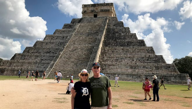 Valerie and Rick Felkowski of Warren took the D to the pyramid El Castillo in the Mexican state of Yucatan in December. El Castillo, a step pyramid built as a temple to the god Kukulcan, is part of the Mayan ruins at Chichen Itza. The Felkowskis' chidren gave them a trip to Mexico as a retirement gift.