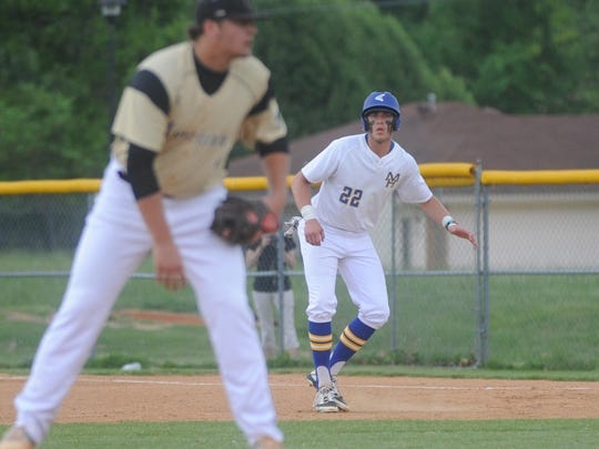 Mountain Home's Sky-Lar Culver leads away from first base during a game last season at Cooper Park.