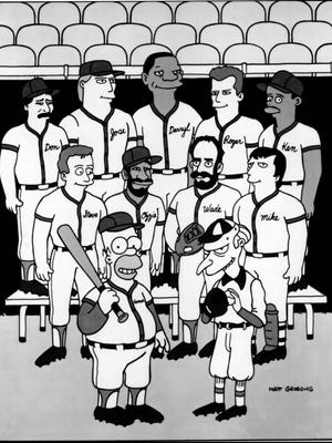 """The """"Homer at the Bat"""" episode of """"The Simpsons"""" featured: Top, left to right: Don Mattingly, Jose Canseco, Darryl Strawberry, Roger Clemens, Ken Griffey Jr.; Middle, left to right, Steve Sax, Ozzie Smith, Wade Boggs and Mike Scioscia; Bottom, Homer and Mr. Burns."""