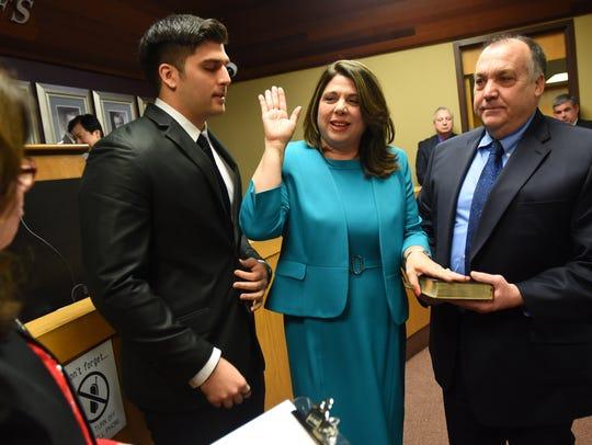 Englewood Cliffs Councilwoman Carrol McMorrow is sworn