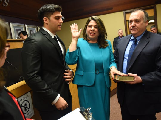 Englewood Cliffs Councilwoman Carrol McMorrow is sworn