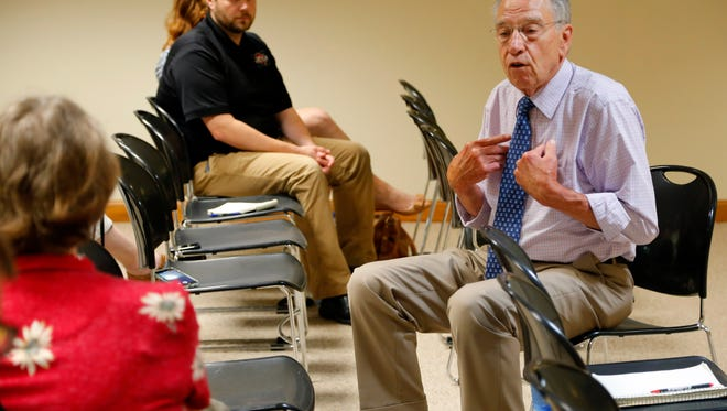 Sen. Chuck Grassley (R-Iowa) holds a meeting with voters in Centerville Friday, July 7, 2017.