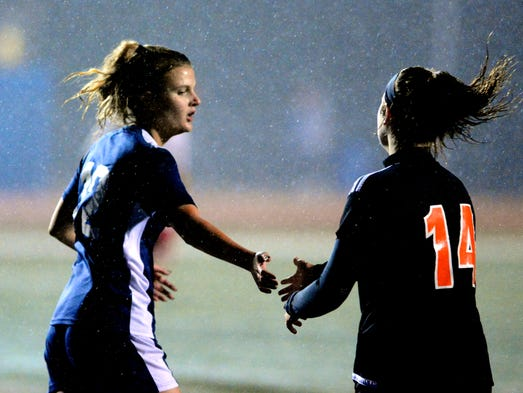 Bre Sgrignoli of Central York, right, congratulates