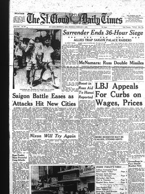 The Vietnam War and Tet Offensive attacks filled the front page of The St. Cloud Daily Times on Feb. 1, 1968.