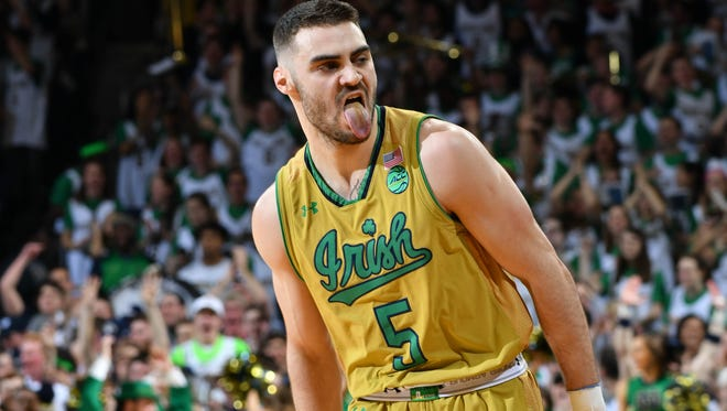Feb 11, 2017; South Bend, IN, USA; Notre Dame Fighting Irish guard Matt Farrell (5) reacts after a basket in the first half against the Florida State Seminoles at the Purcell Pavilion. Notre Dame won 84-72. Mandatory Credit: Matt Cashore-USA TODAY Sports