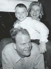 A 1950s-era photo of Paul Harvey, Paul Harvey Jr. and