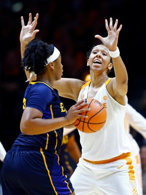 Tennessee center Mercedes Russell, right, helped the Lady Vols get off to a good defensive start against East Tennessee State on Sunday.
